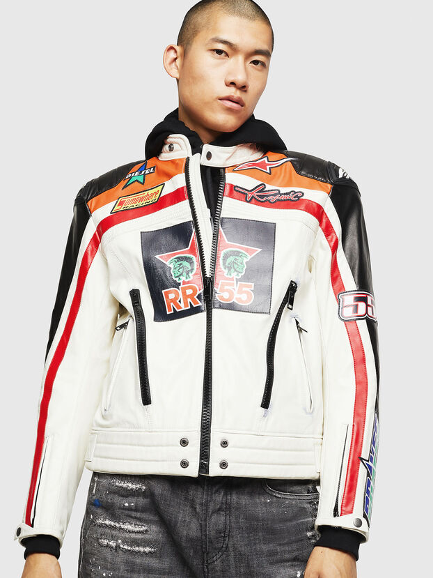 ASTARS-LPATCH-1A, White - Leather jackets