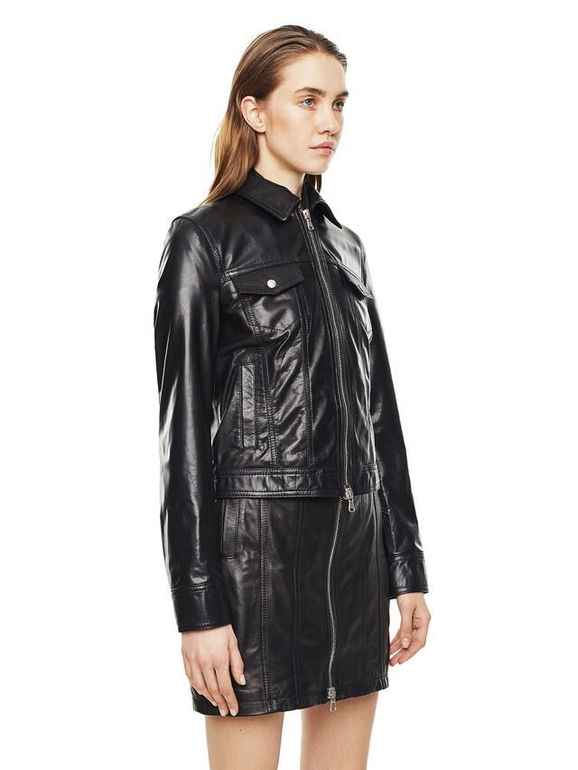 Diesel - LUCYLLE, Black Leather - Leather jackets - Image 5