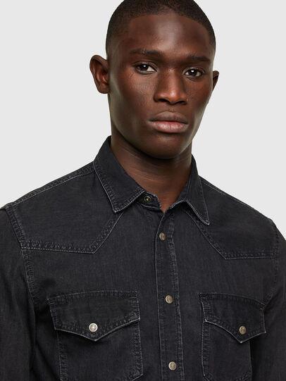 Diesel - D-EAST-P1, Black - Denim Shirts - Image 3