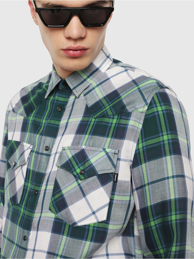 Diesel - S-EAST-LONG-F, Green/Grey - Shirts - Image 4