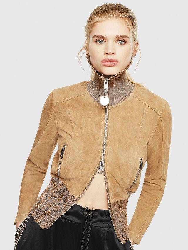Diesel - L-LYS-A, Camel - Leather jackets - Image 1