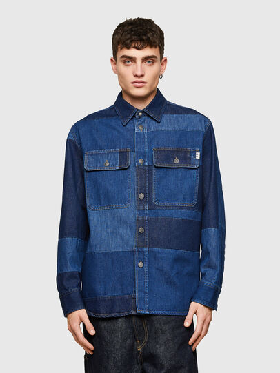 Diesel - D-HORUS, Blue - Denim Shirts - Image 1