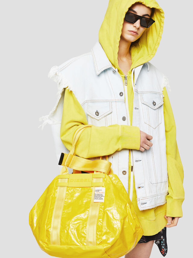 Diesel - D-CAGE SHOPPER, Yellow - Shopping and Shoulder Bags - Image 5