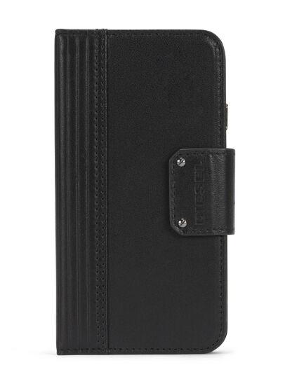 Diesel - BLACK LINED LEATHER IPHONE 8 PLUS/7 PLUS FOLIO,  - Flip covers - Image 1