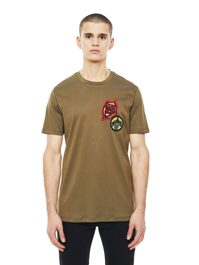 Diesel - TY-PATCHES, Military Green - T-Shirts - Image 1