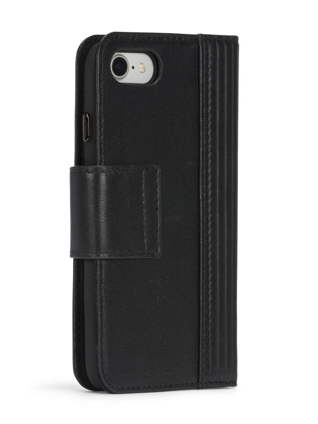 Diesel BLACK LINED LEATHER IPHONE 8 PLUS/7 PLUS FOLIO, Black - Flip covers - Image 7