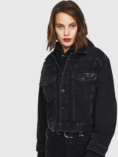 Diesel - DE-CATY, Black/Dark grey - Denim Jackets - Image 1