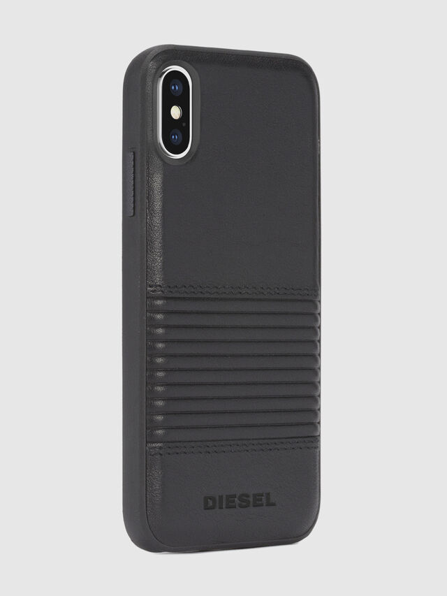 Diesel - BLACK LINED LEATHER IPHONE X CASE, Black Leather - Cases - Image 5