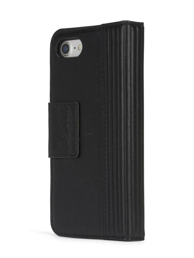 Diesel BLACK LINED LEATHER IPHONE 8 PLUS/7 PLUS FOLIO, Black - Flip covers - Image 6