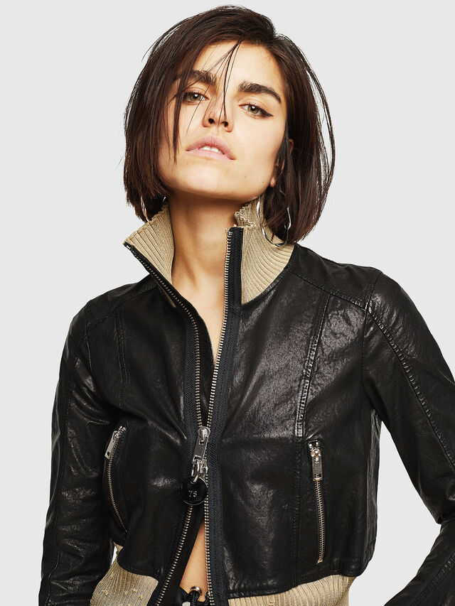 Diesel - L-LYS, Black/Beige - Leather jackets - Image 3