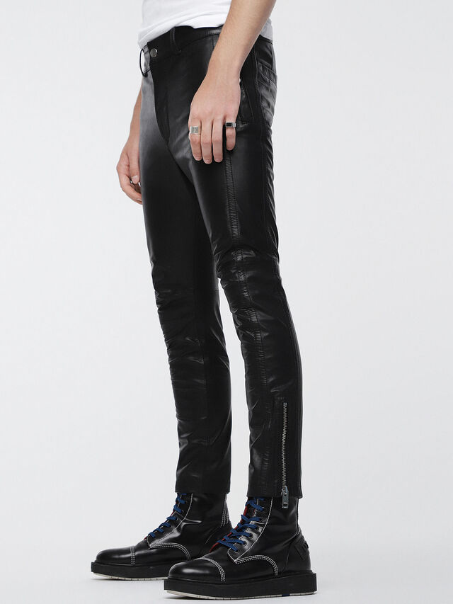 Diesel P-MONTE-L, Black Leather - Pants - Image 3