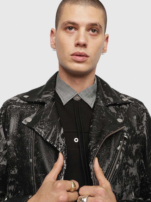 Diesel - L-KRAMPIS-A, Black Leather - Leather jackets - Image 5