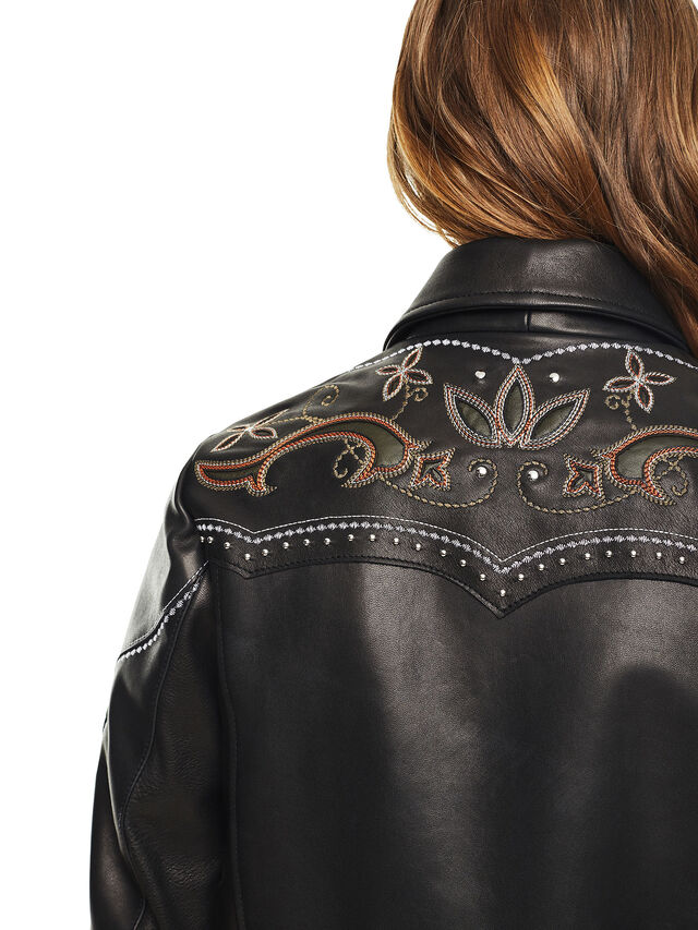 Diesel - LEXIA, Black Leather - Leather jackets - Image 3