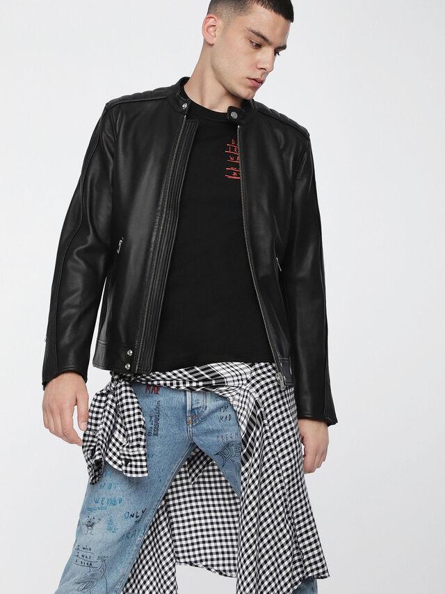 Diesel - L-QUAD, Black Leather - Leather jackets - Image 1