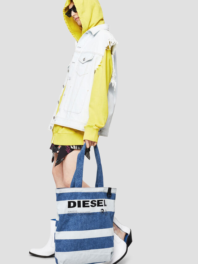 Diesel - F-THISBAG SHOPPER NS, Blue Jeans - Shopping and Shoulder Bags - Image 5