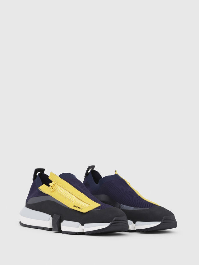Diesel - H-PADOLA LOW ZIP, Blue/Yellow - Sneakers - Image 2
