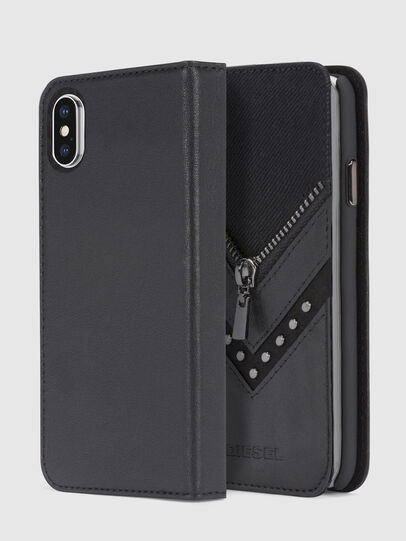 Diesel - BLACK DENIM/STUD/ZIPPER IPHONE X FOLIO,  - Flip covers - Image 1