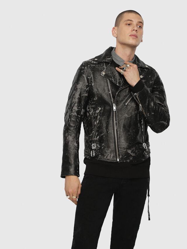 Diesel - L-KRAMPIS-A, Black Leather - Leather jackets - Image 4