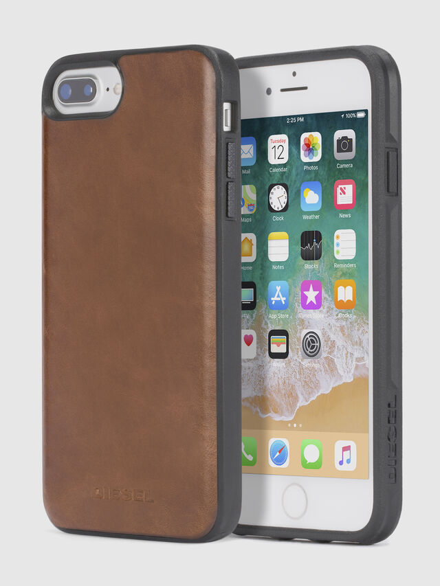 Diesel - BROWN LEATHER IPHONE 8 PLUS/7 PLUS/6s PLUS/6 PLUS CASE, Brown - Cases - Image 1