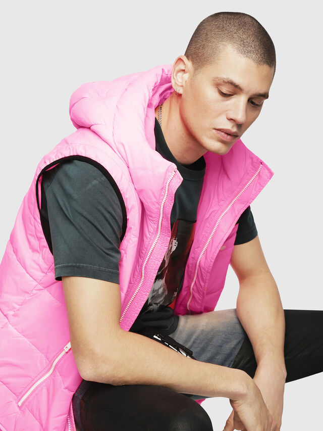 Diesel - W-SUN-REV-SLESS, Pink Fluo - Winter Jackets - Image 3