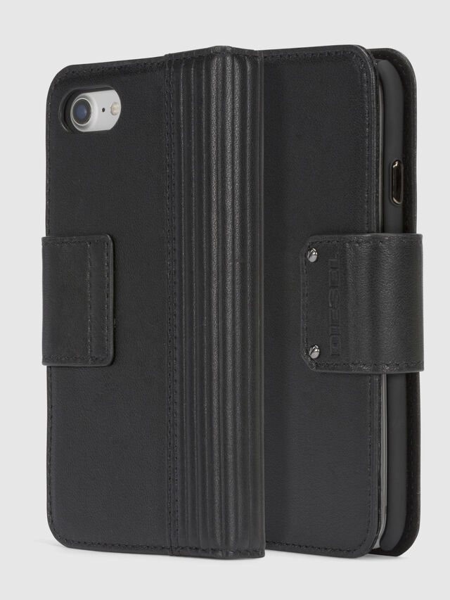 Diesel - BLACK LINED LEATHER IPHONE 8/7 FOLIO, Black - Flip covers - Image 1