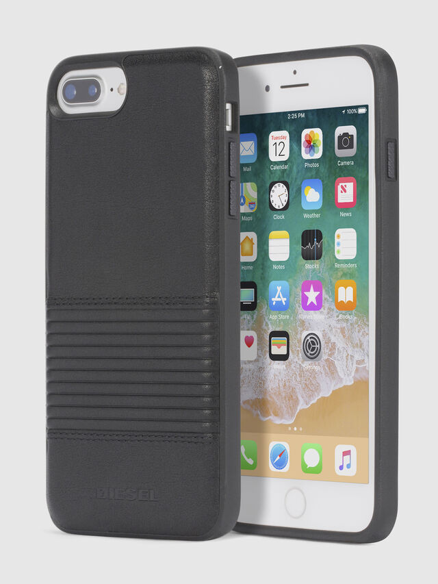 Diesel - BLACK LINED LEATHER IPHONE 8/7/6s/6 CASE, Black - Cases - Image 1