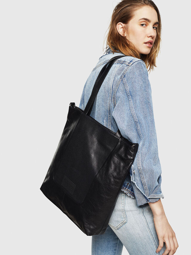 Diesel - L-TOLLE SHOPPER E/W, Black - Shopping and Shoulder Bags - Image 5