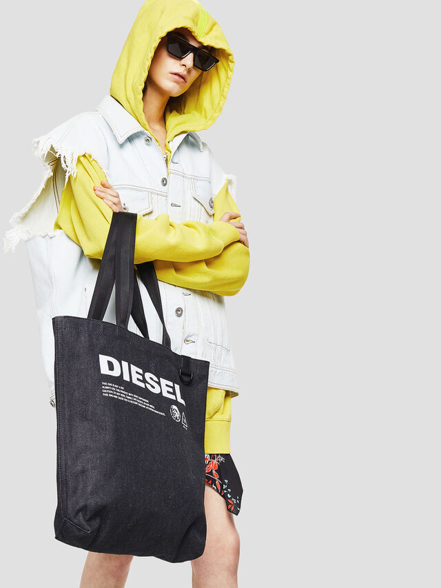 Diesel - F-THISBAG SHOPPER NS, Dark Blue - Shopping and Shoulder Bags - Image 5