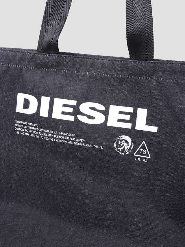 Diesel - D-THISBAG SHOPPER L, Blue Jeans - Shopping and Shoulder Bags - Image 3