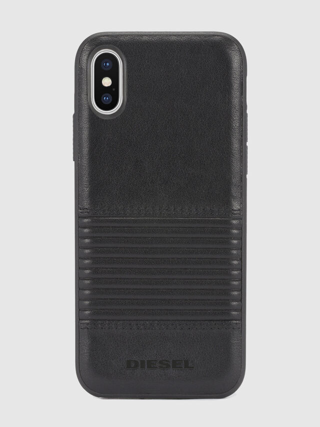Diesel BLACK LINED LEATHER IPHONE X CASE, Black Leather - Cases - Image 2