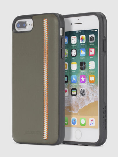 Diesel - ZIP OLIVE LEATHER IPHONE 8 PLUS/7 PLUS/6s PLUS/6 PLUS CASE,  - Cases - Image 1