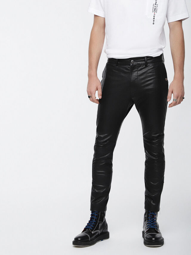 Diesel P-MONTE-L, Black Leather - Pants - Image 1