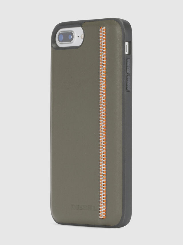 Diesel - ZIP OLIVE LEATHER IPHONE 8 PLUS/7 PLUS/6s PLUS/6 PLUS CASE, Olive Green - Cases - Image 3