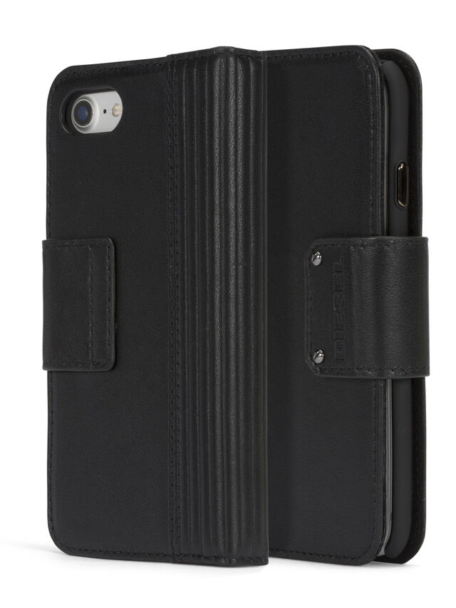 Diesel BLACK LINED LEATHER IPHONE 8 PLUS/7 PLUS FOLIO, Black - Flip covers - Image 3