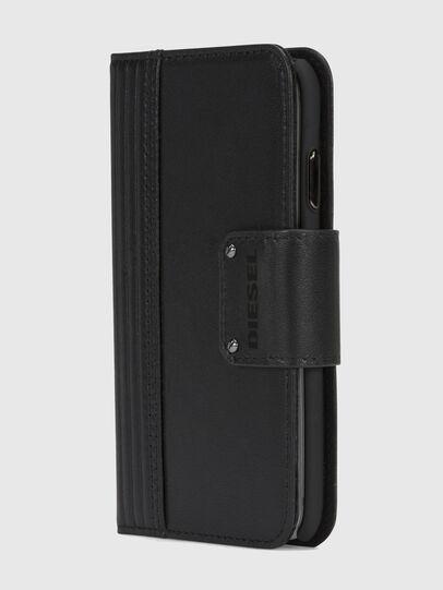 Diesel - BLACK LINED LEATHER IPHONE X FOLIO, Black - Flip covers - Image 3