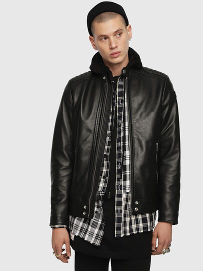 Diesel - L-SHIRO-WH, Black - Leather jackets - Image 1