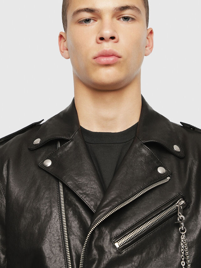 Diesel - SE-LEANDRO, Black Leather - Leather jackets - Image 5