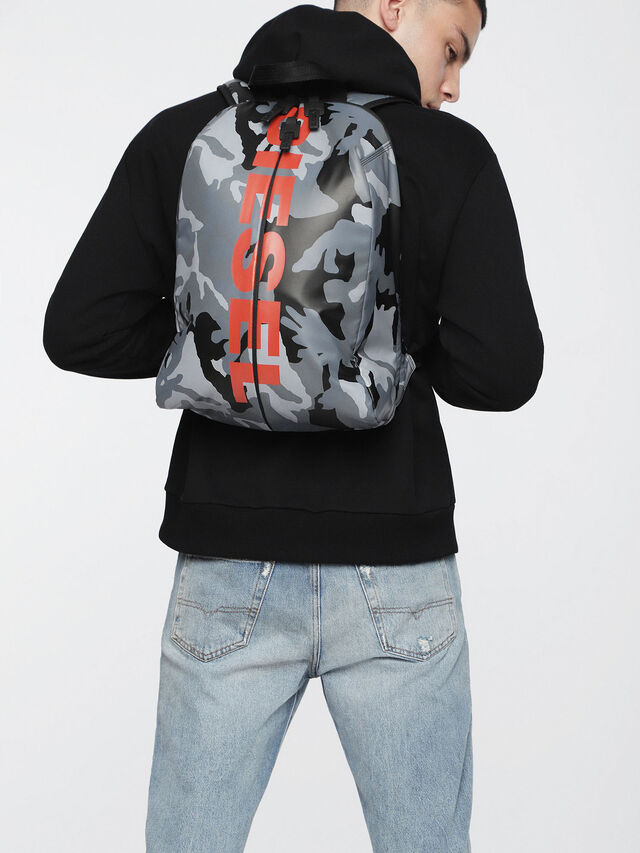 Diesel - F-BOLD BACK, Grey Melange - Backpacks - Image 5