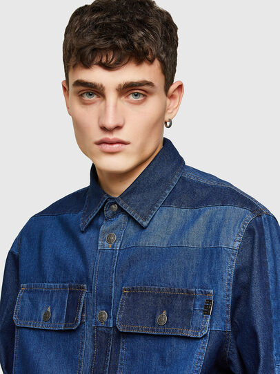 Diesel - D-HORUS, Blue - Denim Shirts - Image 3