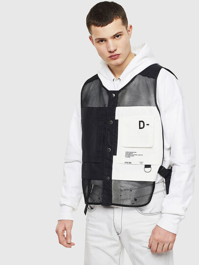 Diesel - J-FISHMESH, Black/White - Jackets - Image 1