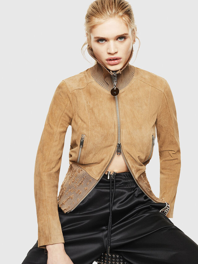 Diesel - L-LYS-A, Camel - Leather jackets - Image 4