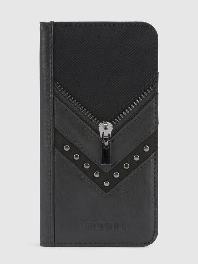 Diesel - BLACK DENIM/STUD/ZIPPER IPHONE X FOLIO,  - Flip covers - Image 2