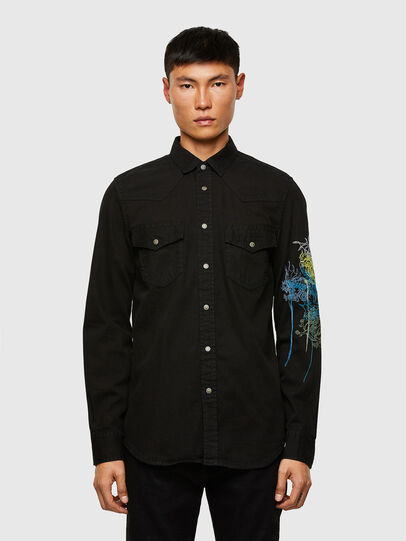Diesel - D-EAST-P1-SP, Black - Denim Shirts - Image 1