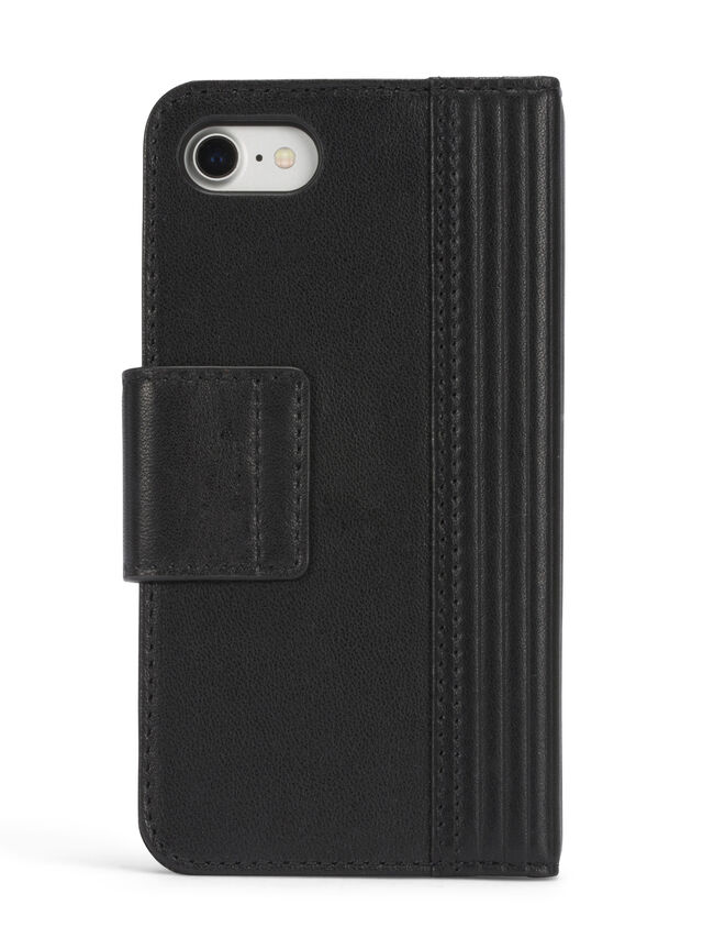 Diesel BLACK LINED LEATHER IPHONE 8 PLUS/7 PLUS FOLIO, Black - Flip covers - Image 5