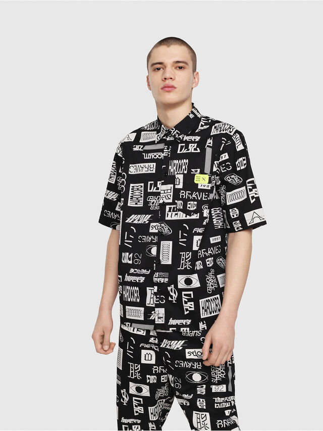Diesel - S-FRY, Black/White - Shirts - Image 1